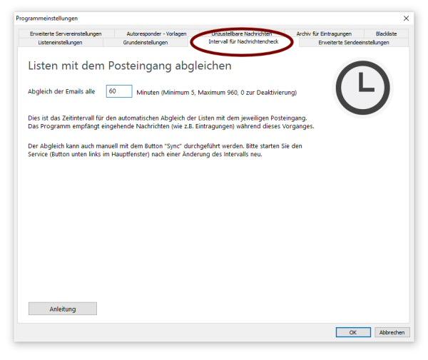 Anleitung zum Newsletter Programm - Allgemeine Programmeinstellungen ...