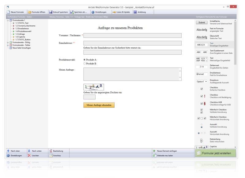 Arclab webformular generator webformulare erstellen for Fenster englisch