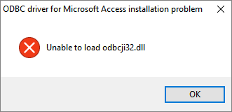 Unable to load odbcji32 dll (MS Access ODBC driver)